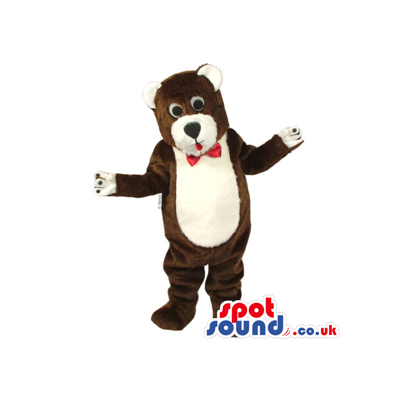 Customizable Brown And White Teddy Bear Mascot With Red Bow Tie