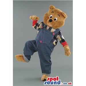 Bear mascot in blue jumper with black and white shirt inside -