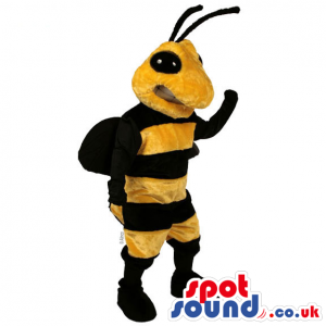 Customizable Plain Bee Mascot With Black Antennae And Eyes -