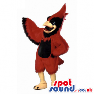 Customizable Red Plush Bird Mascot With Black Belly - Custom
