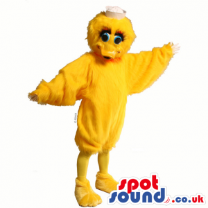 Customizable Yellow Funny Duck Animal Mascot With Blue Eyes -