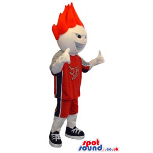 Red Haired Boy Mascot Wearing Basketball Sports Clothes -