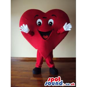 Dancing Lovely red heart mascot with an attractive face -