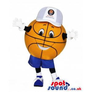 Orange Basketball Mascot Wearing A Cap And Sneakers - Custom