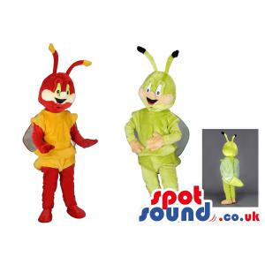 Two bee mascot dressed up in green and red and with antenna's -