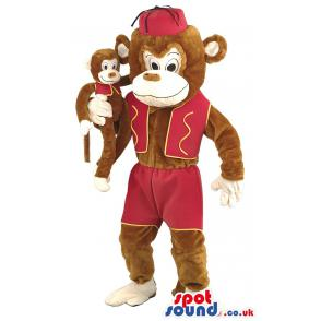 Brown monkey mascot with a purple cap with the baby monkey -