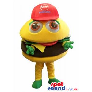 Customizable Funny Big Hamburger Mascot Wearing A Red Cap -