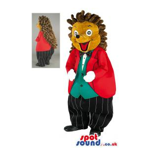 Funny Hedgehog mascot with a red coat and black trouser -