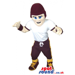 American Football Boy Player Mascot Wearing Black Hat - Custom