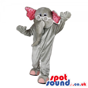 Funny Grey Elephant Animal Mascot With Pink Dots And Glasses -
