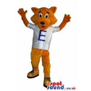 Brown Fox Animal Mascot Wearing A Letter T-Shirt And Sneakers -