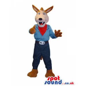 Brown Fox Animal Mascot Wearing Cowboy Garments And Neck Scarf
