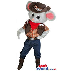 Happy pirate rat mascot with a brown hat shaking hands - Custom