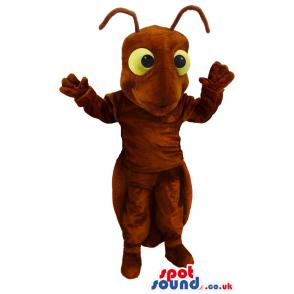 Innocent brown ant mascot getting scared of its cruel enemies -