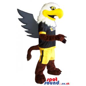 American Eagle Animal Mascot Wearing Black And Yellow Sports