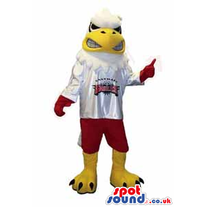 American Eagle Bird Mascot Wearing Red And White Sports Clothes