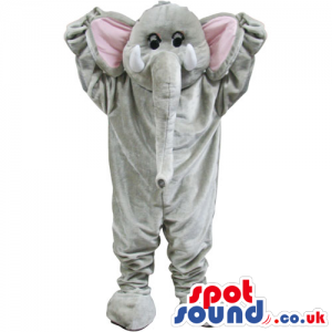 Grey Elephant Animal Mascot With Long Trunk And Pink Ears -