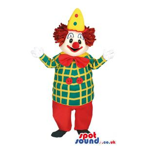 Joker mascot in red pants and in blue shirts with yellow stripe
