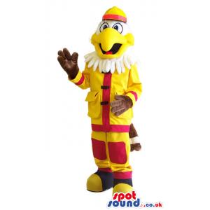 White Eagle Animal Mascot Wearing A Fireman Uniform - Custom