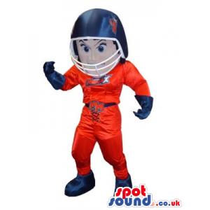 Human Mascot Wearing Red And Blue American Football Garments -