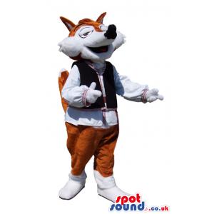 Brown And White Fox Animal Mascot Wearing Folk Clothes - Custom