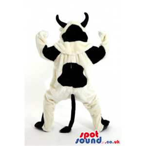 Customizable Black And White Cow Animal Mascot With Black Horns