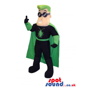 Super Hero Character Mascot With Green Hair And Glasses -