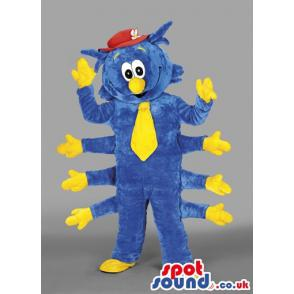 Eight hands caterpillar mascot in blue colour with yellow