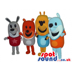 Four Colorful Bear Mascots In A Variety Or Colors And Sizes -