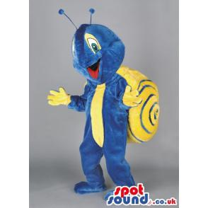 Snail mascot in blue colour with yellow load on his back -