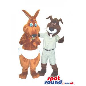 A Kangaroo Wearing Nappies And A Cat Mascot With A Tongue -
