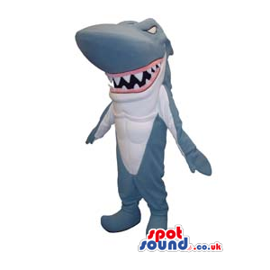Shark Animal Plain Mascot With Pointy Fangs And Jaws - Custom