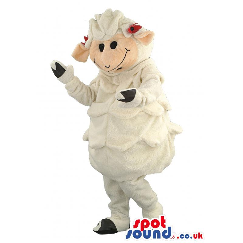 Sheep mascot in white clothes with black shoes and gloves -