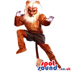 Brown Lion Animal Mascot Wearing Combat Shorts With Long Tail -
