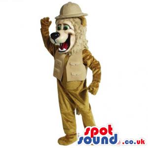 Beige Lion Animal Mascot Wearing Explorer Vest And Hat - Custom