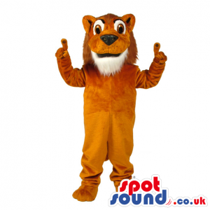 Plain Brown Lion Animal Mascot With White Beard And Brown Eyes