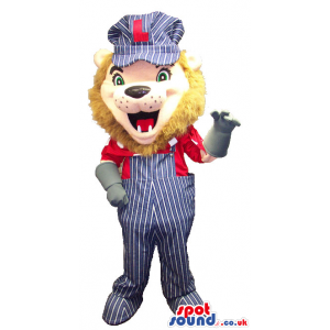 Lion Animal Mascot Wearing Overalls, Gloves And A Cap With