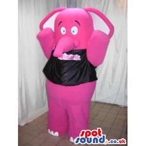 Pink Elephant Animal Mascot Wearing A Black T-Shirt - Custom