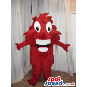 Red Funny Creature Mascot With Big Teeth And Wide Eyes - Custom