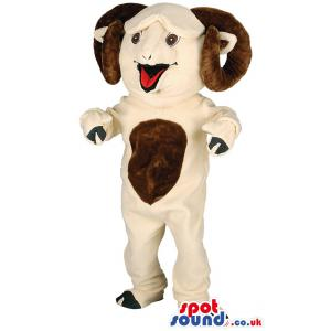 Horn bull mascot with light brown body and in black socks -