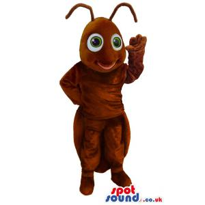 Brown insect mascot who is waving hands to say his greeting -