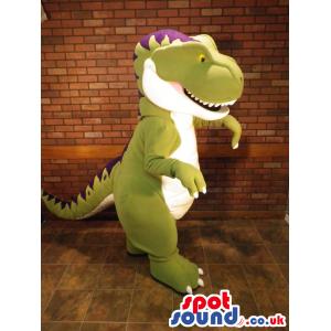 Customizable Green, White And Purple Dinosaur Mascot - Custom