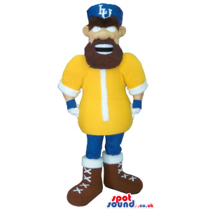 Human Mascot With A Beard Wearing Rugby Sports Garments -