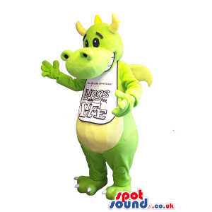 Green Fantasy Dragon Mascot With Space For Message - Custom