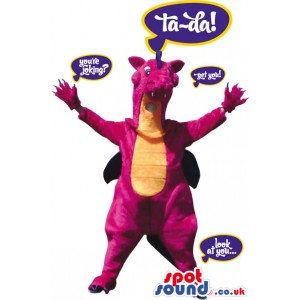 Customizable Pink Dragon Mascot With A Yellow Belly - Custom