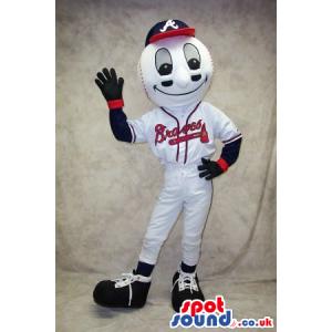White Baseball Ball Mascot With Sports Garments And Team Name -