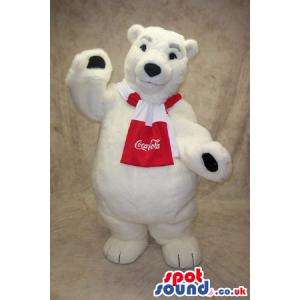 Famous White Polar Bear Mascot With Coca-Cola Logo On Scarf -