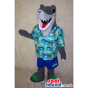 Funny Grey Shark Animal Mascot Wearing Summer Clothes - Custom