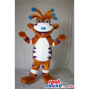 Funny Creature Mascot In Brown, White And Blue With Funny Hair