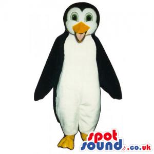 Plain Penguin Animal Mascot With Yellow Beak And Green Eyes -